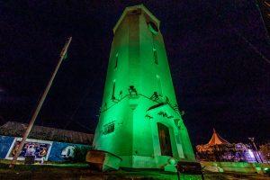 La Torre de Agua se iluminó de verde por el Día de la Donación de Órganos